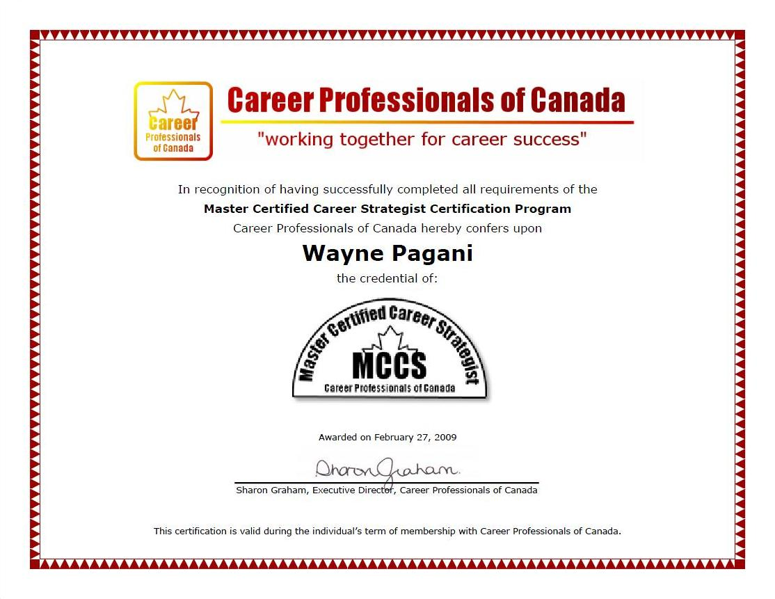 certifications w p consulting associates w p consulting master certified career strategist mccs