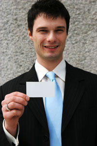 professional man with business card