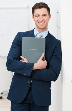 man holding career marketing portfolio